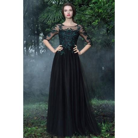 Společenské večerní uhrančivé černé tylové dlouhé šaty s tmavě zelenou  krajkovou aplikací na živůtku c960e88c74f