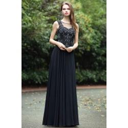 Společenské krásné a působivé černé dlouhé šaty se zdobeným živůtkem a  svůdným šňěrováním na zádech eeaba921c2