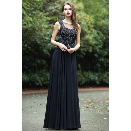 9f9c1a252c2 Společenské krásné a působivé černé dlouhé šaty se zdobeným živůtkem a  svůdným šňěrováním na zádech