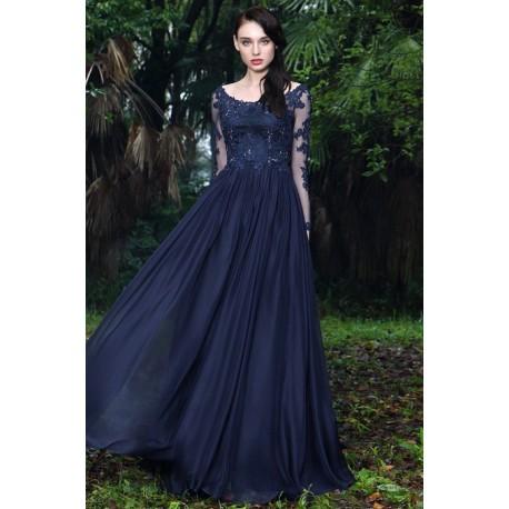 fcd84c57529b Společenské nádherné královsky modré šaty s tylovým krajkovou výšivkou  zdobeným topem a dlouhým rukávem
