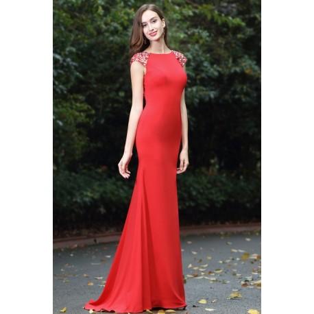 a8ccc35c9faf Společenské krásné červené úzké šaty s otevřenými kamínky zdobenými zády