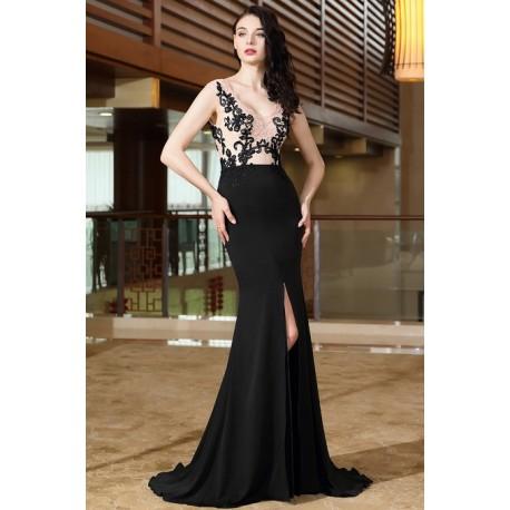Společenské působivé dlouhé černé šaty s vysokým rozparkem a tělovým krajkovým  vrškem zdobeným černou krajkovou výšivkou 2fac3bcf85