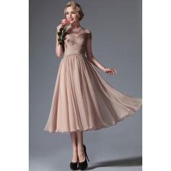 Nové velmi půvabné růžovo-hnědé skládané šaty do půli lýtek s padlými ramínky