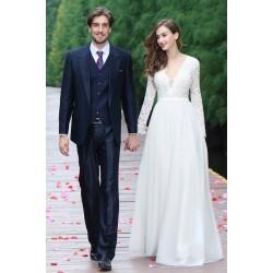 Svatební nové jednoduché nádherné tylové bílé šaty s dlouhým krajkovým rukávem