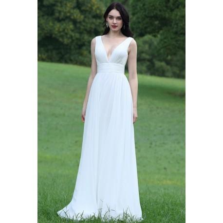 Svatební nové jednoduché šatičky s hlubokým výstřhem 895c147669