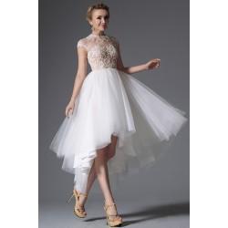 Nové svatební nádherné šaty s průhledným zdobeným vrškem ke krku a tylovou asymetrickou sukni