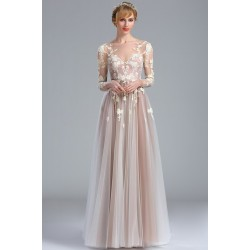 Snové společenské tylové světlé starorůžové šaty s dlouhým rukávem a topem posetým květinami