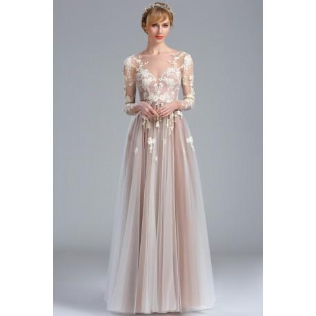 b396c5eee044 Snové společenské tylové světlounce béžové šaty s dlouhým rukávem a topem  posetým květinami