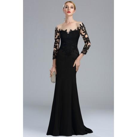 ee85a909220 Luxusní uhrančívé černé dlouhé šaty s tylovým tělovým dlouhým rukávem  pošitým černou krajkovou výšivkou