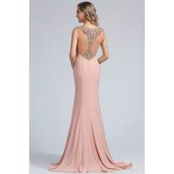Luxusní překrásné světle starorůžové (pudrové) dlouhé šaty s nádherně kamínky zdobenými ramínky a tylovými zády