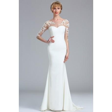 Svatební bílé úzké velicé svůdné šaty s dlouhým tylovým krajkovou  květinovou aplikací zdobeným rukávem da9a6a43a7
