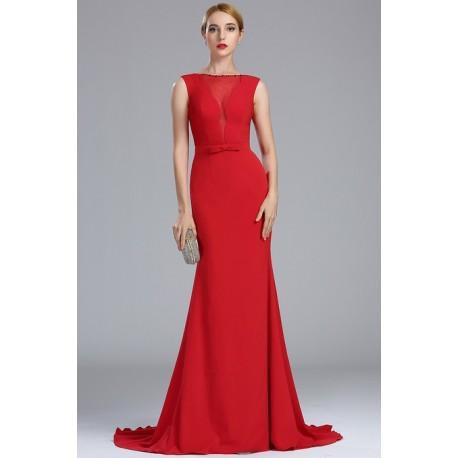 Jednoduché plesové nádherné dlouhé červené šaty bez rukávů 49659380fc