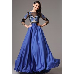Nádherné společenské královsky modré šaty s dlouhým rukávem a černo modrým tylovým krajkovou výšivkou zdobeným topem