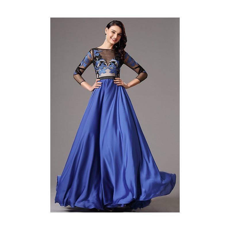 24e796c3525e Nádherné společenské královky modré šaty s dlouhým rukávem a černo modrým  tylovým krajkovou výšivkou zdobeným vrškem ...