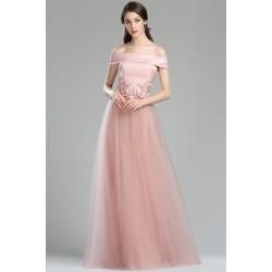 Půvabné společenské světle tluměně růžové šaty s tylovou sukní a saténovým topem