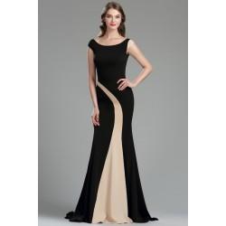 Elegantní dlouhé velice jednoduché a působivé černé šaty s béžovým asymetrickým prvkem ve střihu mořské panny