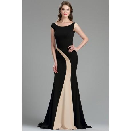 d48c1011dc76 Elegantní dlouhé velice jednoduché a působivé černé šaty s béžovým  asymetrickým prvkem ve střihu mořské panny