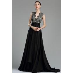 Společenské nádherné dlouhé černé svůdné šaty bez rukávů s celokrajkovým topem