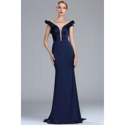 7ffdc7eecea0 Společenské námořnicky modré vintage šaty s kanýrkovými rukávky a svůdným  tylovým prvkem mezi prsy a na