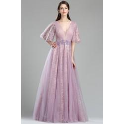 Překrásné společenské a velice ojedinělé princeznovské celokrajkové fialkové šatičky s delším rukávkem