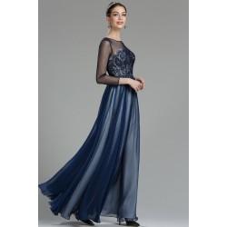 Nové plesové velice krásné modré šaty s béžovým podkladem, krajkovým živůtkem a dlouhým tylovým rukávem