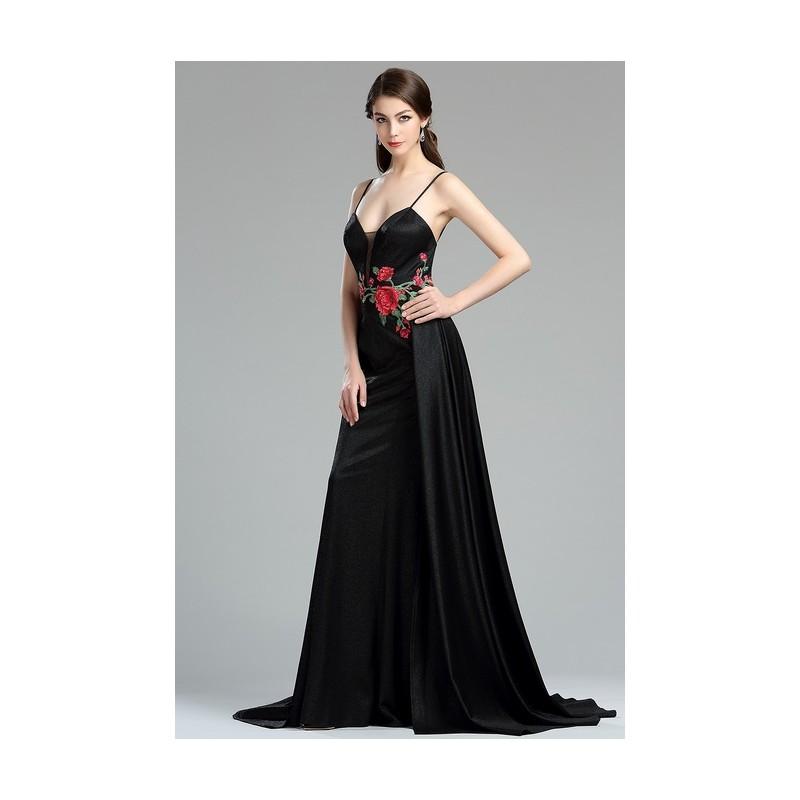 d128906fcd62 ... Nové velice krásné sněhurkovské plesové dlouhé černé šaty s květinovou  výšivkou v pase a úzkými ramínky ...