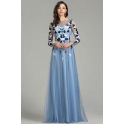Nádherné nové poměnkově modré tylové šaty s dlouhým rukávem a květy vyšívaným topem