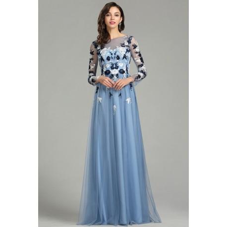 Nádherné nové poměnkově modré tylové šaty s dlouhým rukávem a květy  vyšívaným topem 9a64537fc08