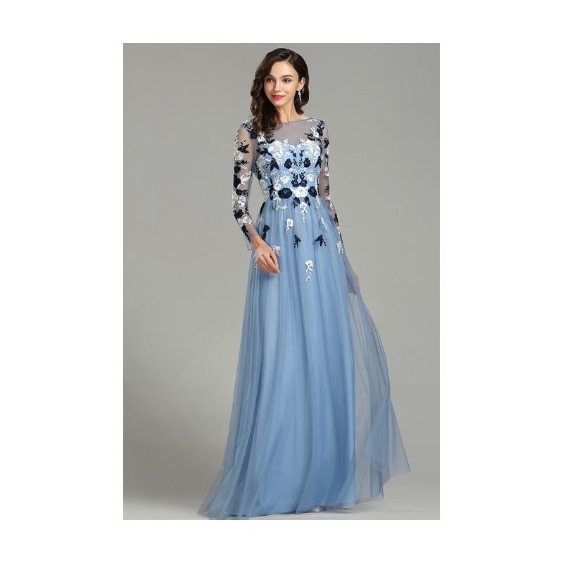 e06e2ba65f3f ... Nádherné nové poměnkově modré tylové šaty s dlouhým rukávem a květy  vyšívaným topem ...