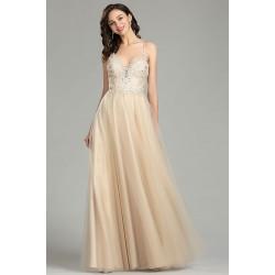 Společenské překrásné šaty v barvě šampaň s nadýchanou tylovou sukní a luxusním živůtkem