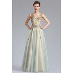 Společenské nové světlé nádherné jiskřivé šaty s tylovou sukní a krásným topem zdobeným kamínky