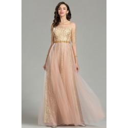 Společenské nové úchvatné zlato pudrové šaty s krajkovou sukní a dlouhým krajkovým rukávem