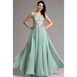 Nádherné společenské tlumeně zelené šaty s krajkovou výšivkou zdobeným topem 1d603852d9