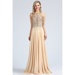 Překrásné béžové šaty s hojně zdobeným topem luxusními kamínky a sexy  rafinovaným výstřihem na zádech 4b03156892