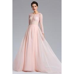 Půvabné nové moc kásné krajkové světle růžové šaty s krajkovým vrškem, dlouhým rukávem a hlubokým véčkovým výstřihem na zádech