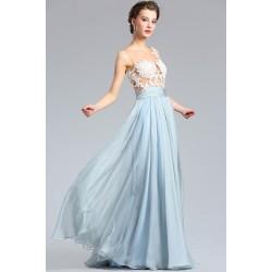 Romantické překrásné vílí modré šaty s průsvitným živůtkem zdobeným bílou krajkovou aplikací