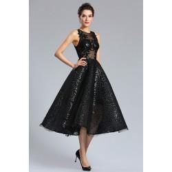 Večerní šaty alá večernice -černé celo flitrové šaty s průsvitným topem
