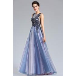 Nádherné nové velice moderní ojedinělé společenské dlouhé modro fialkové šaty s krajkovou zdobenou výšivkou na topu