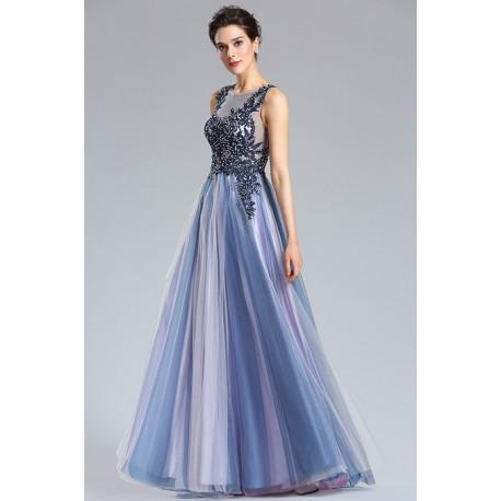 a05220d6809 Nádherné nové velice moderní ojedinělé společenské dlouhé modro fialkové  šaty s krajkovou zdobenou výšivkou na topu