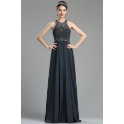 Nádherné okouzlující nové dlouhé tmavě šedé šaty s tylovým topem plně zdobeným kamínky a flitry do barvy šatů