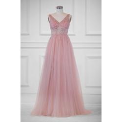 Překrásné plesové princeznovské světle růžové nebo bledě modré šaty s topem posázeným kamínky