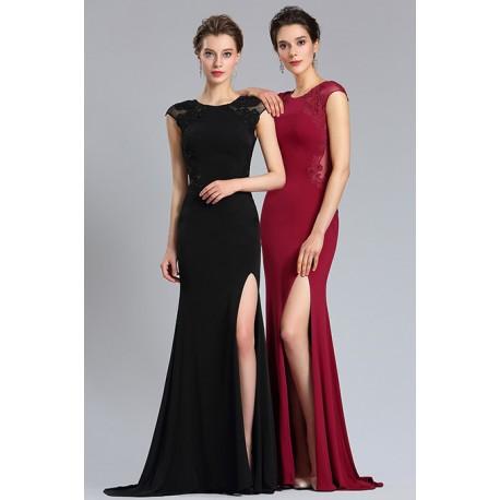 Společenské svůdné dlouhé jednoduché černé nebo bordó úzké šaty s krajkovým  vrškem a vysokým rozparkem fa11c3c4de