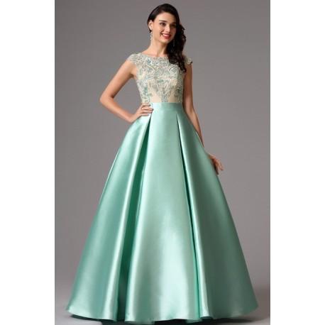 c066f6e0cf67 Společenské překrásné světle zelené (mintové) šaty s nádherně zdobeným  topem a bohatou sukýnkou