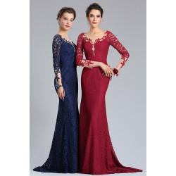 Společenské večerní úzké dlouhé celokrajkové tmavě modré nebo bordó šaty s  dlouhým rukávem a véčkovým výstřihem 3e6ec6669bb