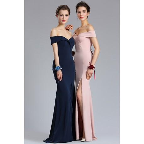 Společenské úzké dlouhé jednoduché námořnicky modré nebo starorůžové šaty  se spadlými ramínky a vysokým rozparkem fb77cd415c