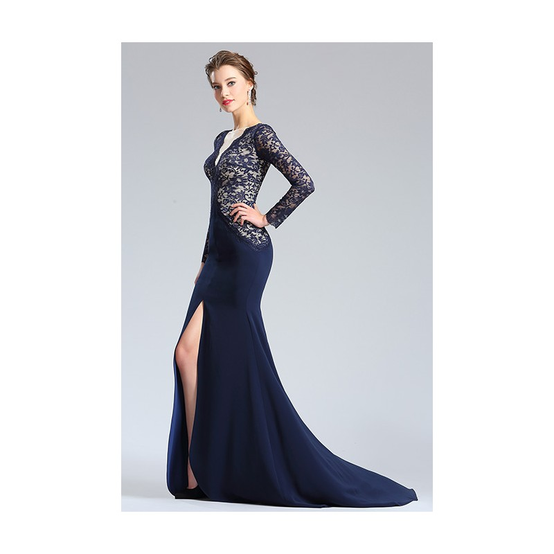 Společenské plesové úzké dlouhé modré šaty s krajkovám topem ... 3ae9ba73ec