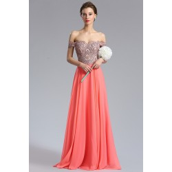 Společenské plesové nádherné korálové šaty s luxusně kamínky zdobeným vrškem spadlými ramínky