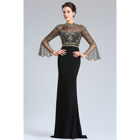 Společenské plesové nádherné dlouhé černé šaty s ojedinělým krajkovým černo  zlatým topem a sexy výsřihem na d8467b3861