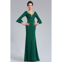 Společenské jednoduché úzké krásné tmavě zelené dlouhé šaty s delším rukávem s volánem