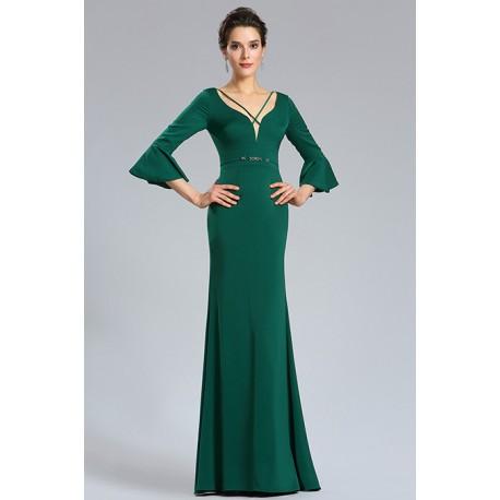47b3b643d32 Společenské jednoduché úzké krásné tmavě zelené dlouhé šaty s delším rukávem  s volánem